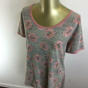 LULAROE Round Neck Short Sleeve Gray Floral Basic